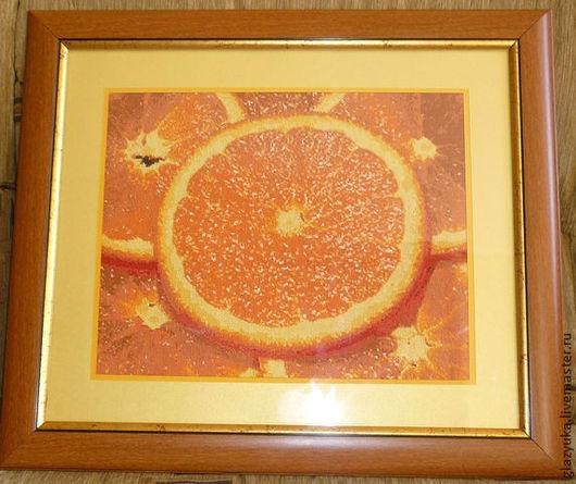 Животные ручной работы. Ярмарка Мастеров - ручная работа. Купить Вышивка крестом. Handmade. Оранжевый, вышивка, картина, апельсин, сочный