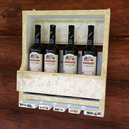 Мебель ручной работы. Ярмарка Мастеров - ручная работа. Купить Полка для вина. Handmade. Комбинированный, rustic, гвозди, акриловые краски