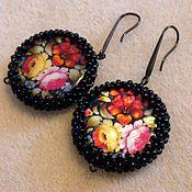 Украшения handmade. Livemaster - original item Earrings black Zhostovo painting flowers natural mother of pearl. Handmade.