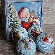 """Подарки к праздникам ручной работы. Ярмарка Мастеров - ручная работа Новогодний набор шаров  """"Новогодняя сказка""""  Новогодние игрушки. Handmade."""