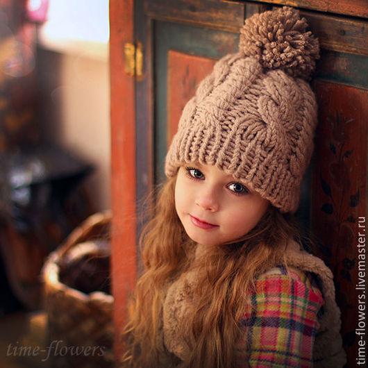 Шапки и шарфы ручной работы. Ярмарка Мастеров - ручная работа. Купить Вязаная шапочка «Теплый вечер». Handmade. Коричневый, купить
