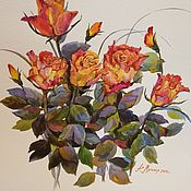 Картины и панно ручной работы. Ярмарка Мастеров - ручная работа Чайные розы.. Handmade.
