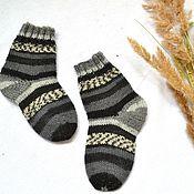 Работы для детей, handmade. Livemaster - original item Knitted baby socks, wool striped socks baby.. Handmade.