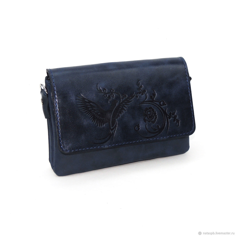 Women's leather handbag blue Hummingbird Mod. C53-661, Crossbody bag, St. Petersburg,  Фото №1