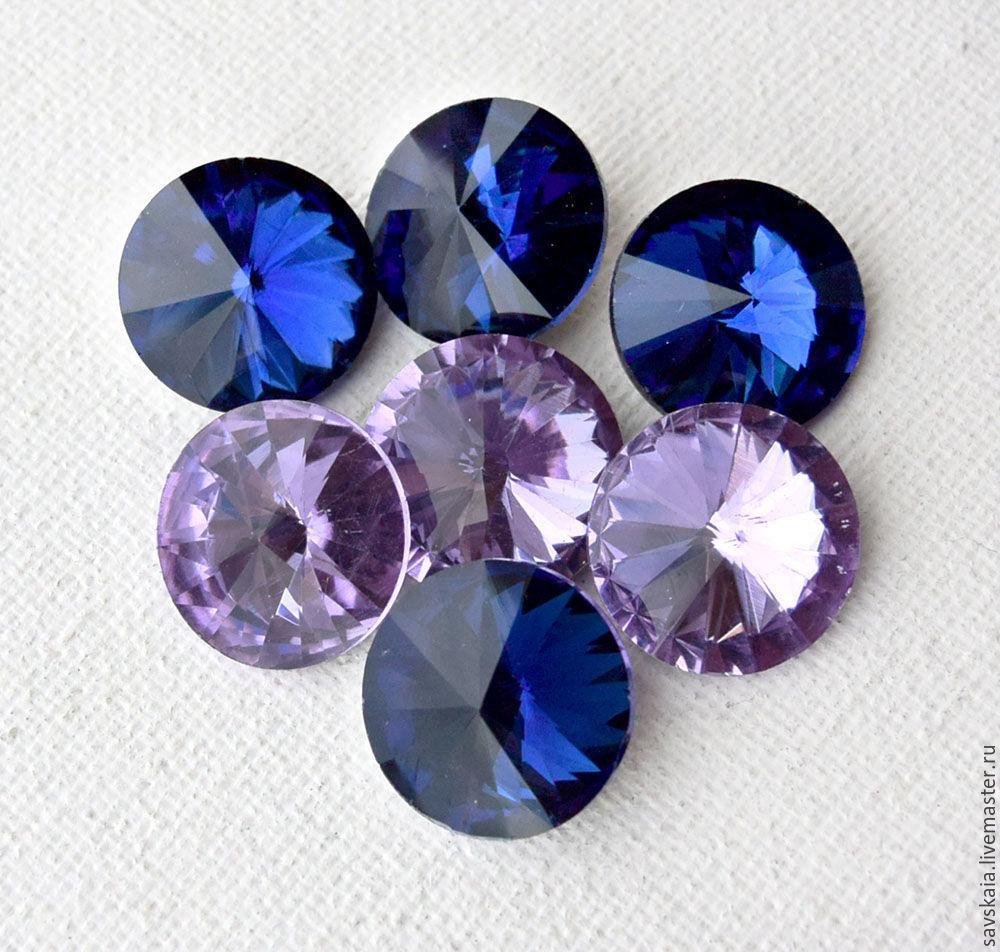 Риволи хрустальные кристаллы Размер18 мм Цвет ультрамарин, сиренево-розовый