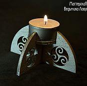 Для дома и интерьера ручной работы. Ярмарка Мастеров - ручная работа Подсвечник деревянный, серебряный. Handmade.