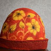 """Для дома и интерьера ручной работы. Ярмарка Мастеров - ручная работа шапка для бани женская """"Хохлома на красном"""". Handmade."""