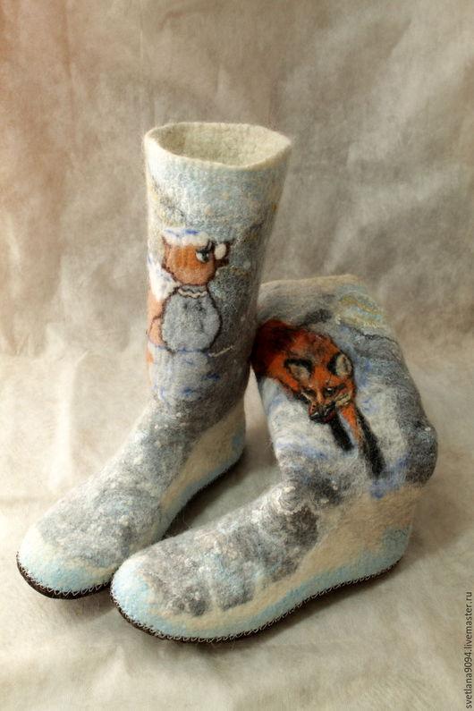 """Обувь ручной работы. Ярмарка Мастеров - ручная работа. Купить Домашние сапожки с собачьей шерстью """"Серая шейка"""" сделаю на за. Handmade."""
