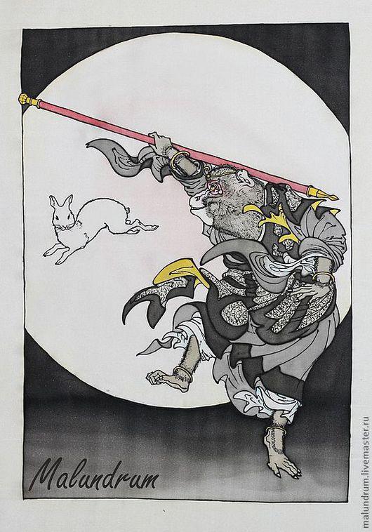 Животные ручной работы. Ярмарка Мастеров - ручная работа. Купить Царь обезьян и лунный заяц. Handmade. Чёрно-белый