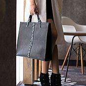 Сумка-тоут ручной работы. Ярмарка Мастеров - ручная работа Квадро, сумка кожаная женская, тоут, пакет, черная, шоппер. Handmade.