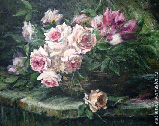 Картины цветов ручной работы. Ярмарка Мастеров - ручная работа. Купить Розы в корзине. Handmade. Разноцветный, ручная работа, картина