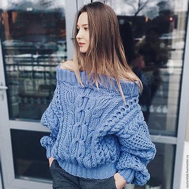 Одежда ручной работы. Ярмарка Мастеров - ручная работа Голубой свитер рубан соты. Handmade.