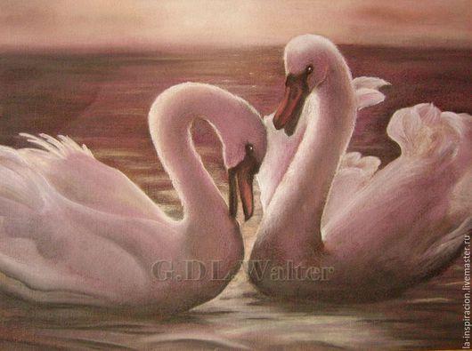 The Swans, Лебеди, пастель, интерьерная картина, картина на свадьбу графика