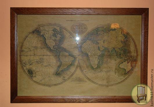 Карта мира в раме из дуба. Map of the World