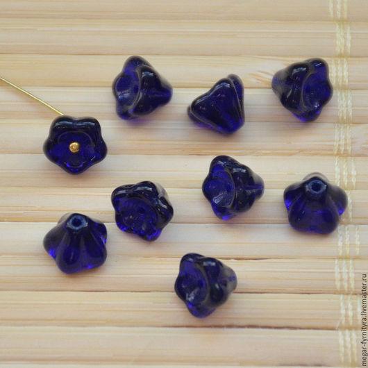 Для украшений ручной работы. Ярмарка Мастеров - ручная работа. Купить Чешские цветочки 6 х 8 мм Синие. Handmade.