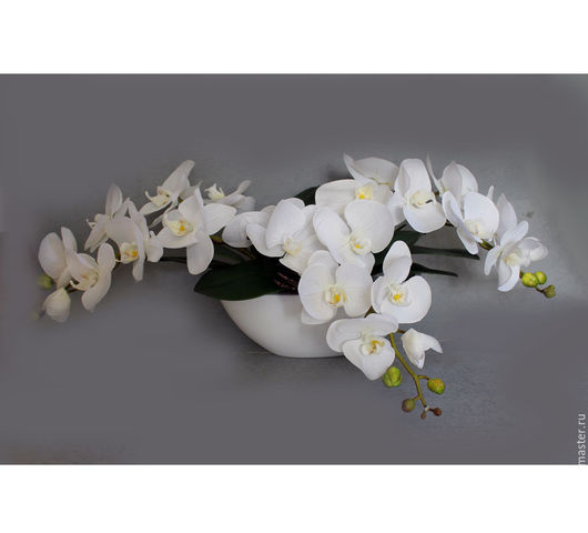 Интерьерные композиции ручной работы. Ярмарка Мастеров - ручная работа. Купить Белая орхидея. Handmade. Белый, латексные цветы