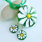 Украшения handmade. Livemaster - original item Set of glass ornaments. daisies. Fusing glass jewelry.. Handmade.