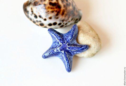 Броши ручной работы. Ярмарка Мастеров - ручная работа. Купить Брошь керамическая Морская Звезда синяя. Handmade. Броши керамика