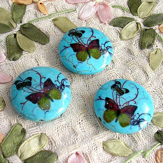 бусина Бабочка, 25 мм, камень синтетический, цвет бирюзовый, 1 шт