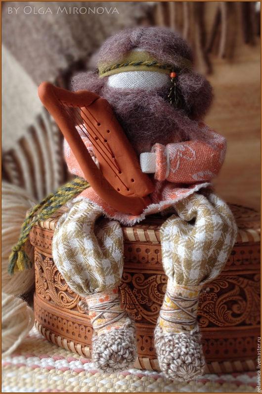 Народные куклы ручной работы. Ярмарка Мастеров - ручная работа. Купить Арфист Уаитни. Handmade. Арфа, оберег, хлопок