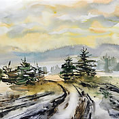 Картины и панно handmade. Livemaster - original item Watercolor painting Landscape with road. Handmade.