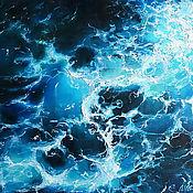 "Картины и панно handmade. Livemaster - original item Картина маслом на холсте ""Бурлящее море. След от катера"". Handmade."