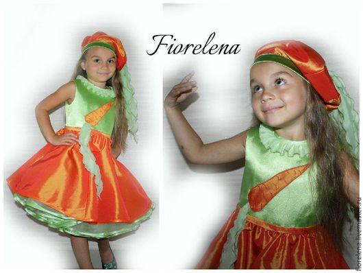Детские карнавальные костюмы ручной работы. Ярмарка Мастеров - ручная работа. Купить Костюм морковки. Handmade. Разноцветный, тафта