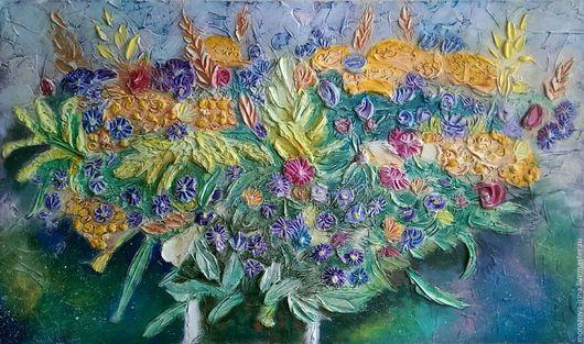 Картины цветов ручной работы. Ярмарка Мастеров - ручная работа. Купить Картина в стиле объемной живописи Космический букет. 72 122. Handmade.