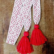 Русский стиль handmade. Livemaster - original item The belt is severe with red with tassels. Handmade.