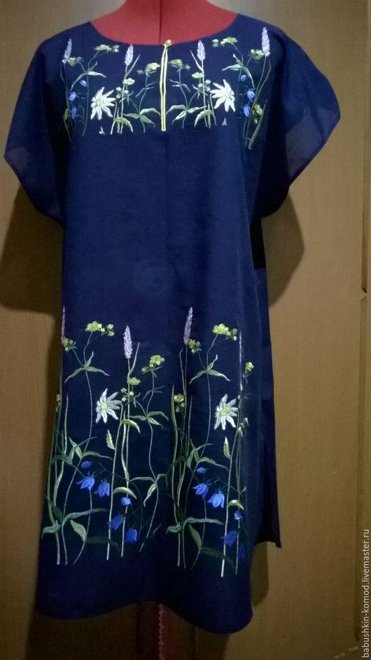 Платья ручной работы. Ярмарка Мастеров - ручная работа. Купить Вышитая туника (Ночной луг) ЖТ5 -043. Handmade.