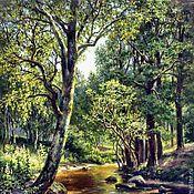Картины и панно ручной работы. Ярмарка Мастеров - ручная работа Лесной ручей- вышивка крестиком. Handmade.