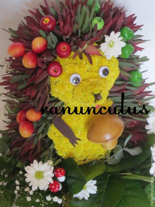 Букеты ручной работы. Ярмарка Мастеров - ручная работа. Купить Ёжик из живых цветов. Handmade. Комбинированный, игрушка из цветов