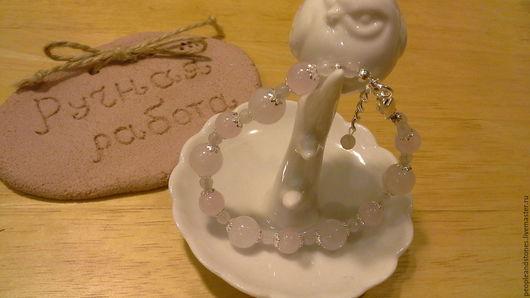 """Браслеты ручной работы. Ярмарка Мастеров - ручная работа. Купить браслет из розового кварца """"Любовь"""". Handmade. Бледно-розовый"""