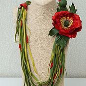 Украшения handmade. Livemaster - original item Poppy magic leather necklace. brooch made of leather.. Handmade.