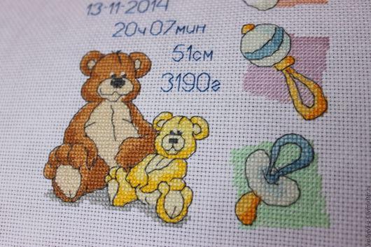 Подарки для новорожденных, ручной работы. Ярмарка Мастеров - ручная работа. Купить Детская метрика Пара медвежат. Handmade. Белый