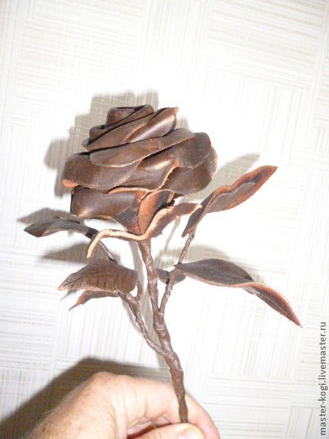 Цветы ручной работы. Ярмарка Мастеров - ручная работа. Купить Роза. Handmade. Коричневый, натуральная кожа, цветы ручной работы