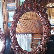 Для дома и интерьера ручной работы. Ярмарка Мастеров - ручная работа Зеркало в резной деревянной раме. Handmade.