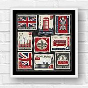 """Материалы для творчества ручной работы. Ярмарка Мастеров - ручная работа Схема для вышивки крестом """"Британские марки"""". Handmade."""
