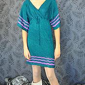 Одежда ручной работы. Ярмарка Мастеров - ручная работа Платье темного изумрудного оттенка с люрексом и рукавом -кимоно. Handmade.