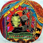 """Тарелки ручной работы. Ярмарка Мастеров - ручная работа Декоративная тарелка """"Девушка с корзиной"""". Африка. Handmade."""