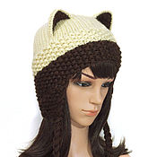 Аксессуары handmade. Livemaster - original item Hat with Cat ears knitted female Siamese coffee with milk. Handmade.
