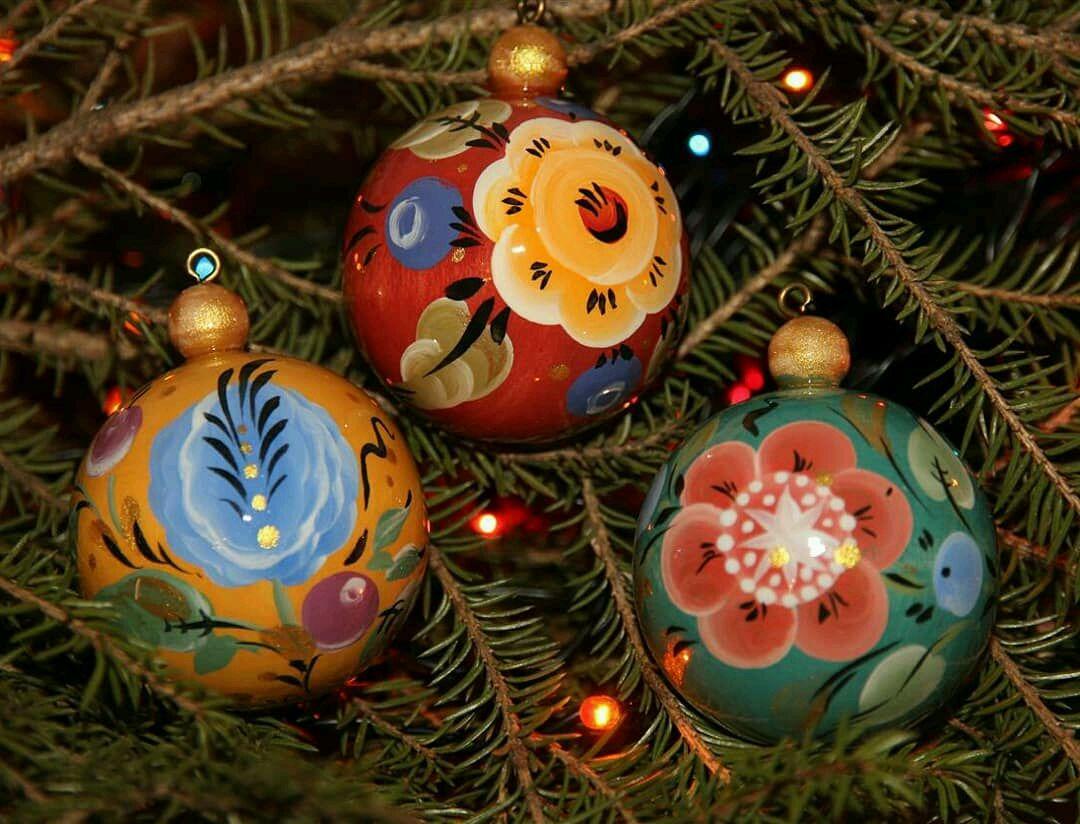 Набор елочных шаров из дерева  роспись в русском стиле (набор 3 шт), Народные сувениры, Советский,  Фото №1