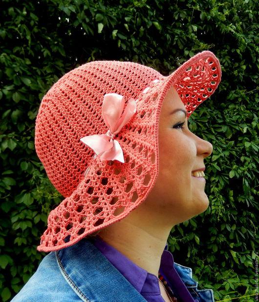 Шляпы ручной работы. Ярмарка Мастеров - ручная работа. Купить Шляпа. Handmade. Коралловый, Вязание крючком, авторская ручная работа
