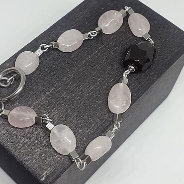 Decorations handmade. Livemaster - original item Bracelet with rose quartz and garnet. Handmade.