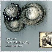 """Украшения ручной работы. Ярмарка Мастеров - ручная работа Брошь """"Серпантин"""" - целебная шерсть + чёрный жемчуг. Handmade."""