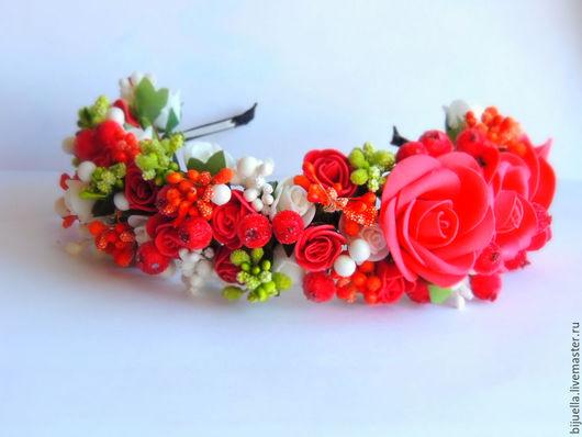Диадемы, обручи ручной работы. Ярмарка Мастеров - ручная работа. Купить Веночек-ободок  для волос Розы красные мои. Handmade.