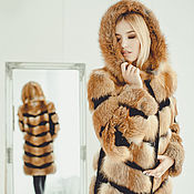Одежда handmade. Livemaster - original item Real fox fur coat with hooded / Red fox fur coat. Handmade.