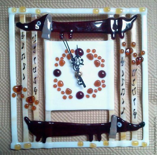 Часы для дома ручной работы. Ярмарка Мастеров - ручная работа. Купить Часы Собачий Вальс. Продано.. Handmade. Коричневый, собаки