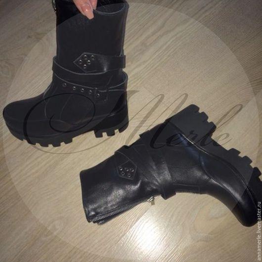 Обувь ручной работы. Ярмарка Мастеров - ручная работа. Купить Ботинки, тракторная подошва, черная кожа. Handmade. Черный