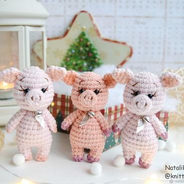 Dolls & toys handmade. Livemaster - original item Little pigs knit a symbol of 2019. Handmade.